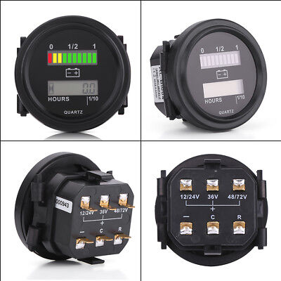 1x 12V/24V/36V/48V/72V LED Digital Vehicle Battery Indicator Gauge Hour Meter BS