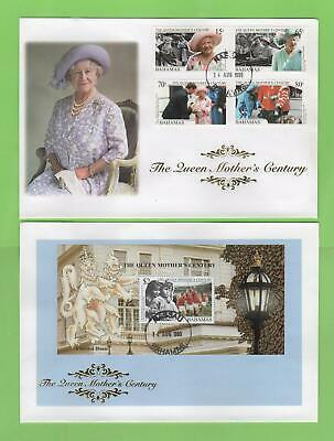 Bahamas 1999 Queen Mother's Century set & mini sheet First Day Covers