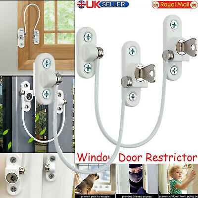 2X UPVC Window Door Restrictor Safety Cable Lock Wire kids Child Security locks
