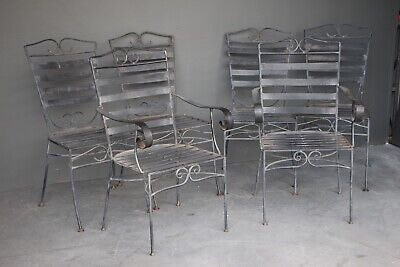 Set 6 wrought iron provincial vintage dining chairs French Art Deco armchairs