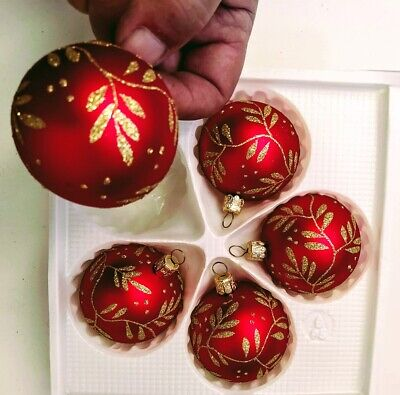 box of 12 Glass Christmas baubles made in Europe top quality hand painted.