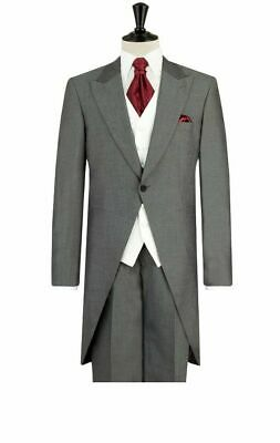 Men's Light Grey Formal Tailcoat Tail Coat Ascot Wedding Groom Best Man 40 Reg