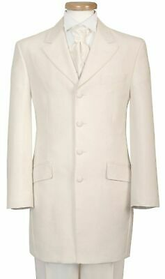 Men's Boys Ivory Cream Prince Edward Wedding Formal Dinner Drape Jacket 20-42""