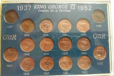 1937-1952 George VI Complete set of Farthings.Sixteen high grades, many UNC
