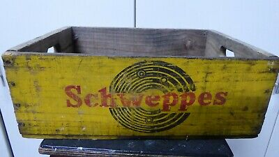 Vintage Wooden Schweppes Soft Drink Bottle Crate Painted Advertising Sign Sides