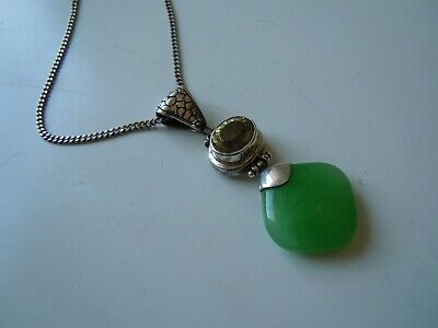 imper. RUSSIA pendant 84 silver with jade stone & citrine crystal Faberge design
