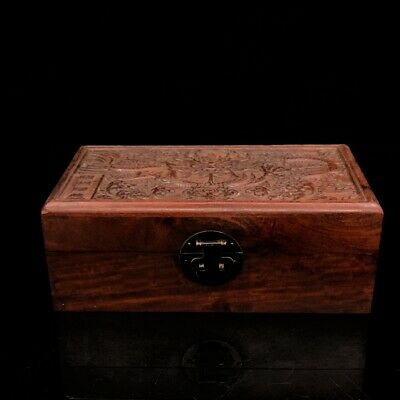 "10"" China antique huanghuali wooden handcarved dragon wood jewelry Box"