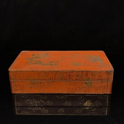 """11"""" China old antique Lacquer ware wooden handmade Dragon Phoenix box"""