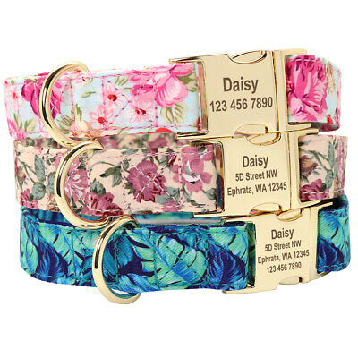 Floral Personalized Dog Collar Engraved ID Custom Side Release Buckle Adjustable