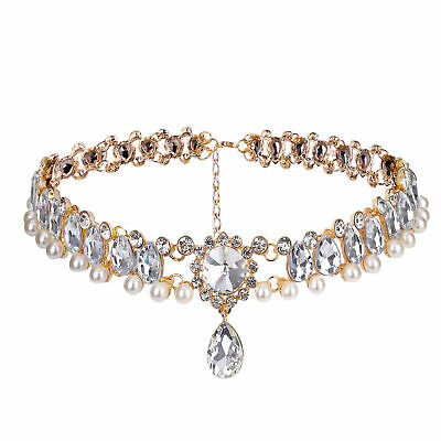 Exaggerated Rhinestone Choker Women Crystal Necklace Wedding Party Jewelry Gift