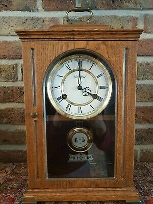 Rare Dutch Wuba Warmink Table clock with Oak Body and removable time piece