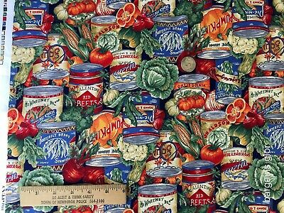 Vtg Fabric Cranston Print Works VIP Joan Messmore USA Canned Vegetables Tomatoes