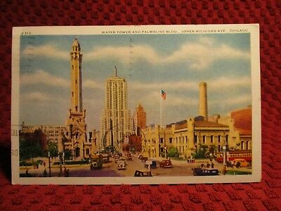 1941. Water Tower & Palmolive Bldg. Michigan Ave. Chicago, Ill. Postcard E9