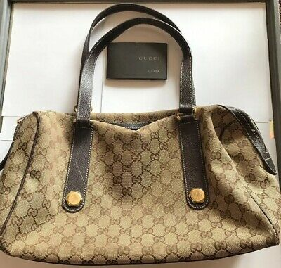 2ccc3c8f3 Authentic GUCCI 193603 214397 GG Pattern Brown/Tan Handbag Used With  Certificate