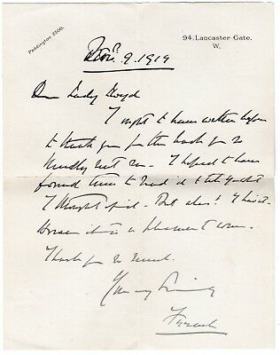 Field Marshal French - Earl of Ypres - World War 1 Forces Commander -1919 letter