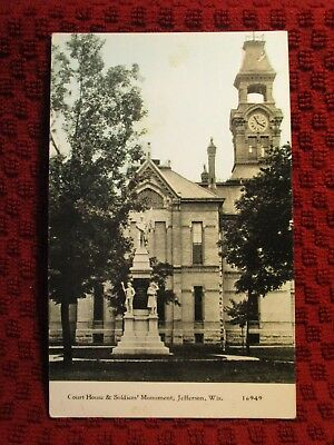 Early 1900'S. Court House & Soldiers Mon. Jefferson, Wisconsin. Postcard E2