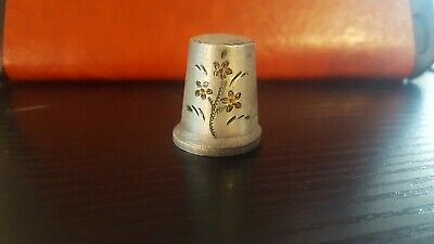 Pewter thimble with floral design