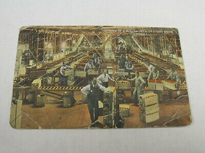 H443 postcard Orange Packing House California CA creases 1921