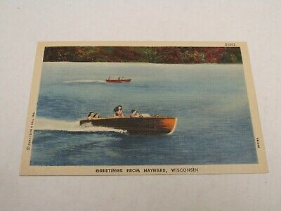 H491 postcard Greetings from Hayward Wisconsin WI Tourist boating