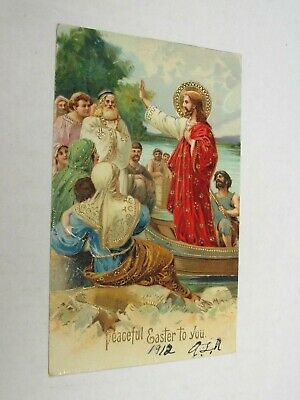 H415 postcard Peaceful Easter to you Jesus addressing a small crowd 1912