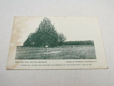 H417 postcard stained Bull Run Battlefield Dowells Pharmacy Manassas VA Virginia