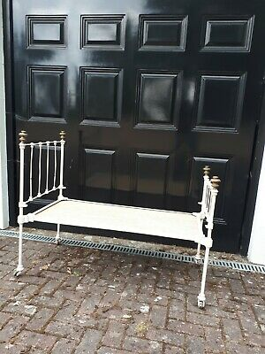 Victorian original cast iron and brass  baby todler cot bed or garden planter