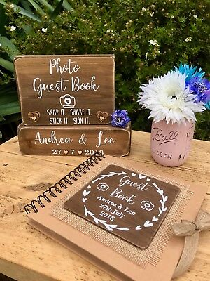 Personalised rustic wedding photo guest book & sign