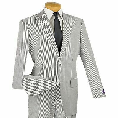 Emigre Mens Blue and White Striped Seersucker Two Button Cotton Suit