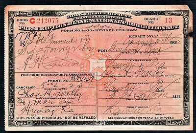 Vintage 1925 Prohibition Prescription Whiskey Pharmacy Doctor Rose Bar Hawley PA
