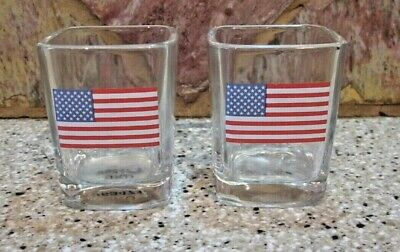 """Set of 2 """"Old Glory"""" Square Thick Walled Shot Glasses"""