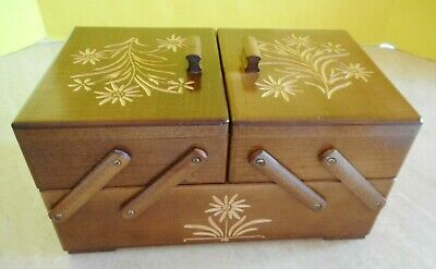 Small VTG Wooden 2 Tier Accordion Sewing Basket / Jewelry Box Hand Carved