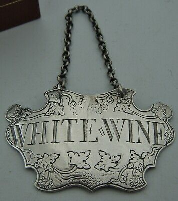 An Antique C1800's Georgian or Early Victorian Silver Decanter Lable; WHITE WINE