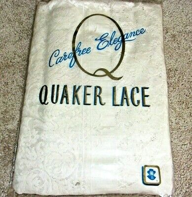 """Vtg Quaker Lace Tablecloth Unused New Open Package 72x90"""" Cream Color"""