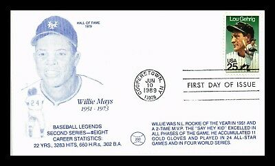 Us Cover Willie Mays Lou Gehrig Baseball Hall Of Fame Legends Fdc