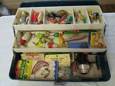 Vintage metal tackle box fishing
