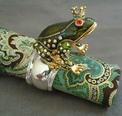 Royal Amphibians Frog King & Queen Napkin Rings Silver Plated Enamel Set of 4