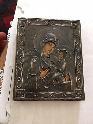 Antique Silver Russian  Icon 1890 Dated 84 Marked