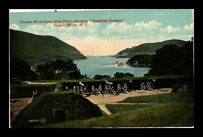 Us Postcard Hudson River From West Point With Canons & Hudson River New York