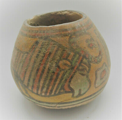 Ancient Indus Valley Harappan Terracotta Pottery Pyxis Vessel Bird Motifs
