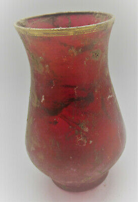 Museum Quality Ancient Roman Red Glass Vessel With Gold Gilt Remnants