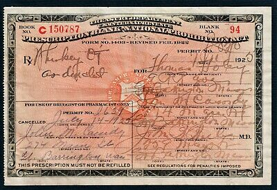 7/14 1925 Prohibition Prescription Antique Whiskey Pint Pharmacy Doctor Bar MA