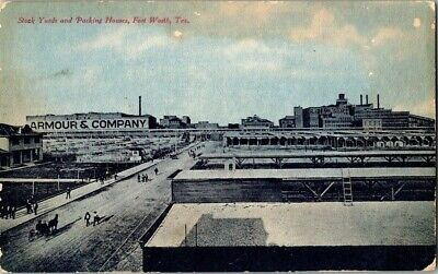 EARLY 1900'S. STOCK YARDS & PACKING HOUSES. FORT WORTH, TX POSTCARD 1a7