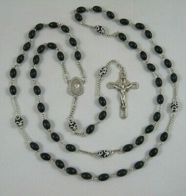 Vintage Sterling Silver Rosary Black Beads Necklace Cross Crucifix Catholic
