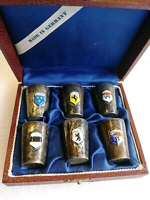 Sterling Silver Shot Glasses Germany Coat of Arms; Set of 6 w/Display Box 925