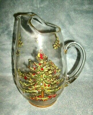 Spode - Christmas Tree - 88 Oz. Glass Pitcher And Set Of 6 Glass Tumblers