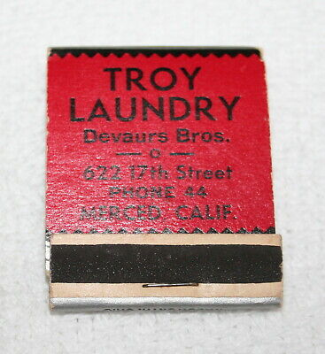 VINTAGE MATCHBOOK ~~  TROY LAUNDRY, Merced, Calif.