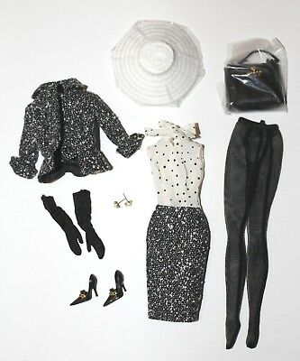 Silkstone Barbie Doll Black & White Tweed Suit Shoes Complete Outfit ONLY