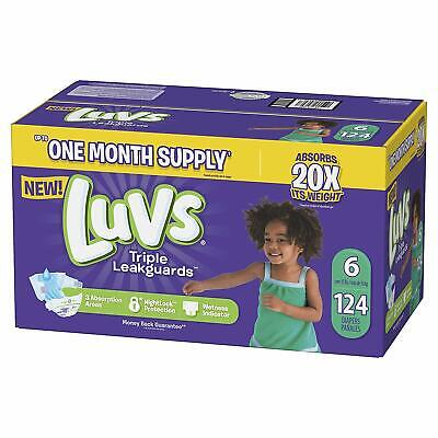 Luvs Ultra Leakguards Disposable Diapers, Size 6, 124Count, ONE MONTH SUPPLY
