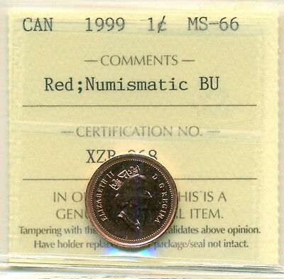 1999 Canada Small Cent Certified ICCS MS-66 NBU