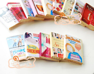 6pcs/set 1:12 Dollhouse Miniature Colorful Wooden Books Home Decors cn